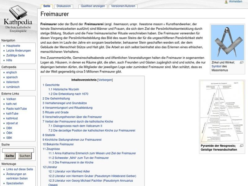 Screenshot von http://www.kathpedia.com/index.php?title=Freimaurer